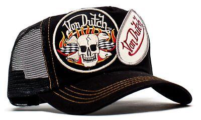 cf665b7b83d1c Authentic Von Dutch Originals Black 2 Patch Truckers Cap Hat Snapback