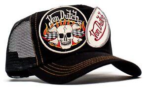 374d70c24e95eb Authentic Von Dutch Originals Black 2 Patch Truckers Cap Hat Snapback