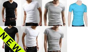 New-Mens-Slim-Fit-V-neck-crew-neck-T-shirt-Short-Sleeve-Muscle-Tee-Size-S-M-L-XL