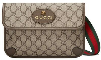 NEW GUCCI CURRENT NEO VINTAGE GG SUPREME FELINE HEAD BELT BAG FANNY PACK