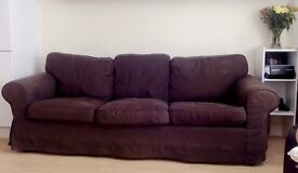 Ikea Three-seat sofa, dark brown, in very good condition