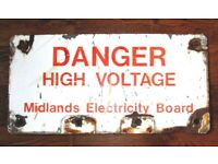 (#357) metal enamel MEB danger high voltage sign (Pick up only, Dy4 area)