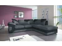 SAME DAY DELIVERY --- DINO JUMBO CORD CORNER OR 3 & 2 SEATER SOFA--BLACK/GREY OR BROWN