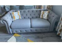 EX DFS x 2 3 seater Belair Grey Chesterfield sofas