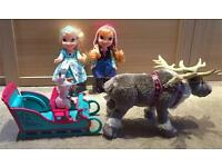 Frozen Anna sleigh with Olaf, Snow Glow Singing Elsa and Disney store plush Sven