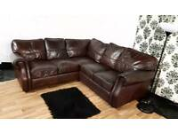 Real leather corner sofa**Free delivery**