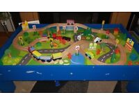 Chad Valley wooden table and train set