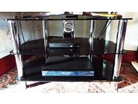 Glass Chrome and Black TV Table