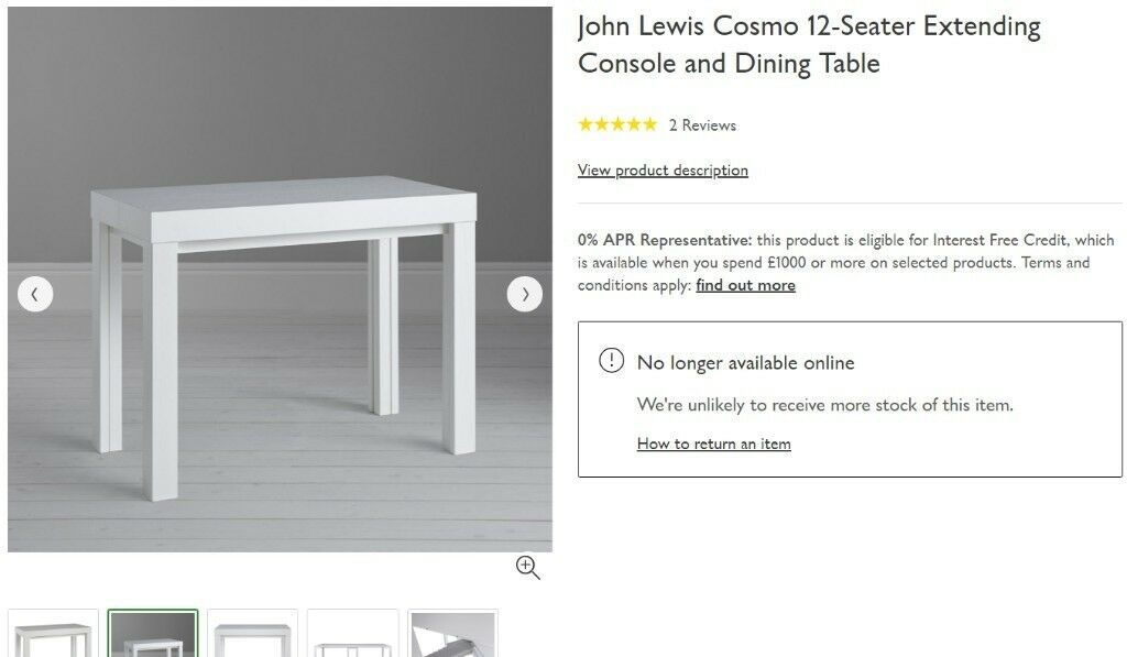 John Lewis Cosmo Console White Extending Dining Table