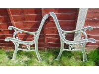 (#718) vintage pair of garden aluminium bench ends (Pick up only, Dy4 area)