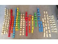 Wooden Building Blocks, Complete 200 Piece Set, Shape Sorting Lid, Carrying Handle