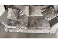2 Crushed velvet silver sofas, both 3 seater