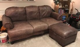 Brown Leather 3 seater sofa & Footstool