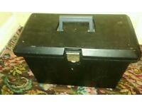 A4 size black filing box with lid and fastener plus sliders and A4 inserts for holding files.