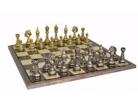 Metal Illa Chess Pieces . in good condition Playing Board missing.