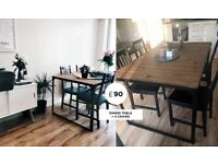 Industrial raw wood dining table w/ 4 chairs