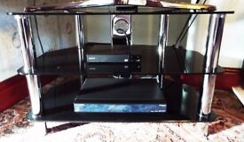 Glass Black and Chrome TV Stand