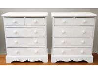 TWO SMALL COUNTRY STYLE BEDSIDE CHEST OF DRAWERS PAIR 2+3