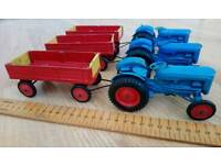 FORDSON TRACTORS AND TRAILERS MADE BY CRESCENT TOYS FROM AROUND THE 1960s