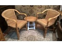 Matching Pair of Wicker Chairs ~ Scandi or Shabby Chic*DELIVERY*~pine oak carver armchair lloyd loom