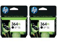 2 x Genuine HP 364XL Black Ink Cartridges PhotoSmart 7510 6510 5520 exp Feb 2019