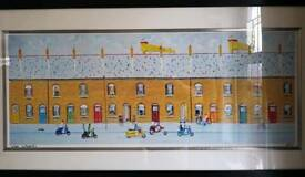 """Genuine original signed """"Foss"""" painting """"Scooters"""""""
