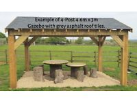 4-Post 4.6m x 3m Timber Garden Gazebo / Hot Tub Canopy / Car Port Kit - various roof options extra