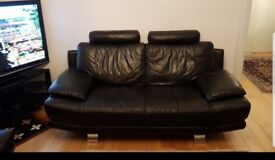Black DFS Faux Leather Two Seater Sofa