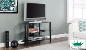 Black Metal/Glass TV Stand