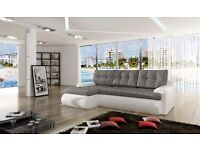BRAND NEW CALASETTA LEATHER&FABRIC CORNER SOFABED WITH STORAGE IN BLACK/WHITE & GREY (FREE DELIVERY)