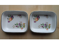 JOHNSON BROTHERS FRESH FRUIT PATTERN OBLONG SERVING DISHES X2