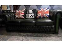 Stunning Chesterfield Winchester 3 Seater Sofa Green Leather - UK Delivery