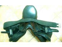 "Tan & black, 17 1/2"" GP saddle w stirrups and strap"