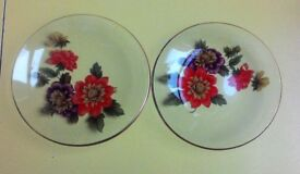 Pair Vintage Glass Dishes with Flowers VGC