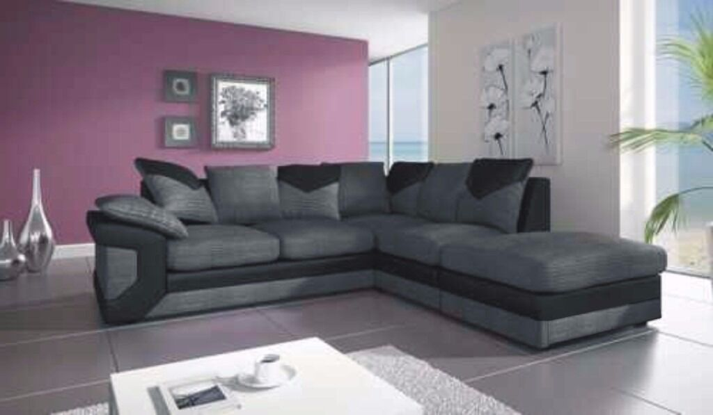 UK EXPRESS DELIVERY | DINO JUMBO CORD BLACK/GREY CORNER SOFA | FOAM CUSSHION | 1 YEAR WARRANTY