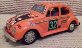 Vintage Tinplate Racing Rally Car VW Beetle TAIYO Made in Japan