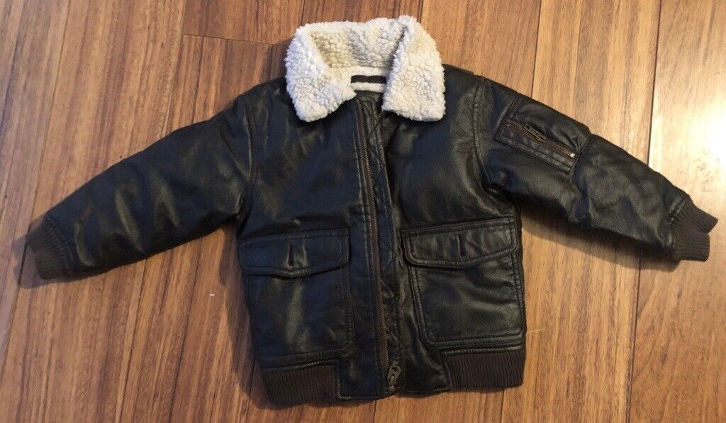 34f289570 Baby Gap BIKER Bomber Jacket Toddler 4yrs Boys Faux Leather Brown