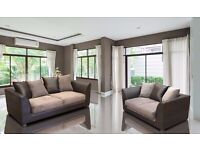 Dylan Byron Brown and Beige Fabric Sofa Settee Couch three seater and two seater