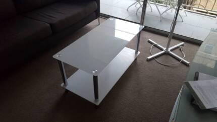 White Glass Coffee Table Like New
