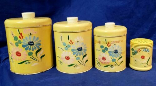 Vintage Ransburg Hand Painted Floral Yellow Metal Canisters Farmhouse Rustic