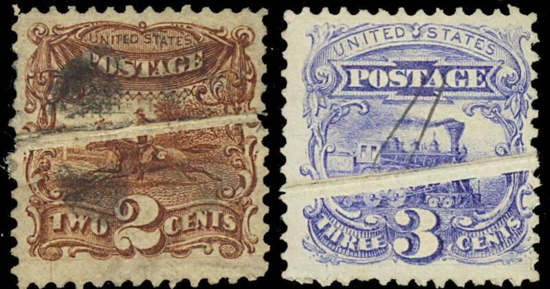 113 & 114 Var Pre-print Paper Fold Errors On 1869 Issue