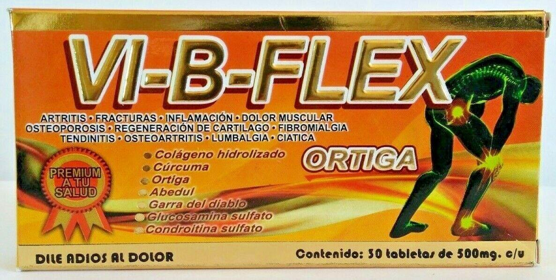VI-B-FLEX ORTIGA CURCUMA GLUCOSAMINA MSM COLAGENO CARTILAGO DE TIBURON VI B FLEX