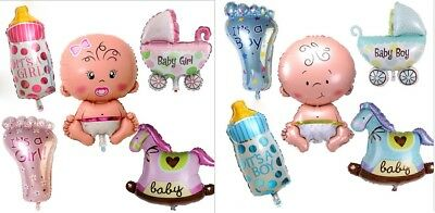 Baby Boy Ballon ( 5er Set Folienballon IT'S A BOY / GIRL Baby Party Geburt Luftballon Flasche Fuß)