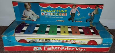 Vintage Fisher-Price Pull-A-Tune Wood Metal Toy Xylophone 870 in Original Box