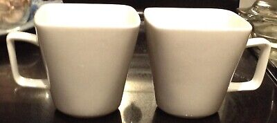 TARGET Home White Porcelain Square Coffee Cups Mugs Set Of 2 Cups