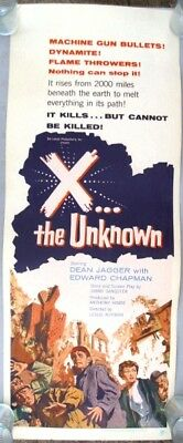 X THE UNKNOWN ROLLED INSERT POSTER (1957) CLASSIC HAMMER SCIENCE FICTION