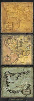 Tür Poster LORD OF THE RINGS - Maps Of Middle Earth ca53x158cm NEU TP468