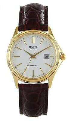Casual Gold Dress (Casio LTP1183Q-7A Ladies Gold Tone Genuine Leather Casual Dress Watch)