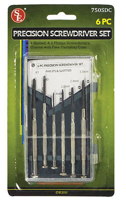 New 6pc Precision Screwdriver Set: 4 Slotted - 2 Phillips, W/ Carrying Case