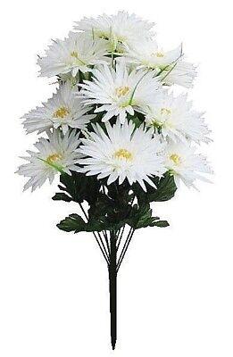 White Gerbera Daisy Silk Flower Bush 22
